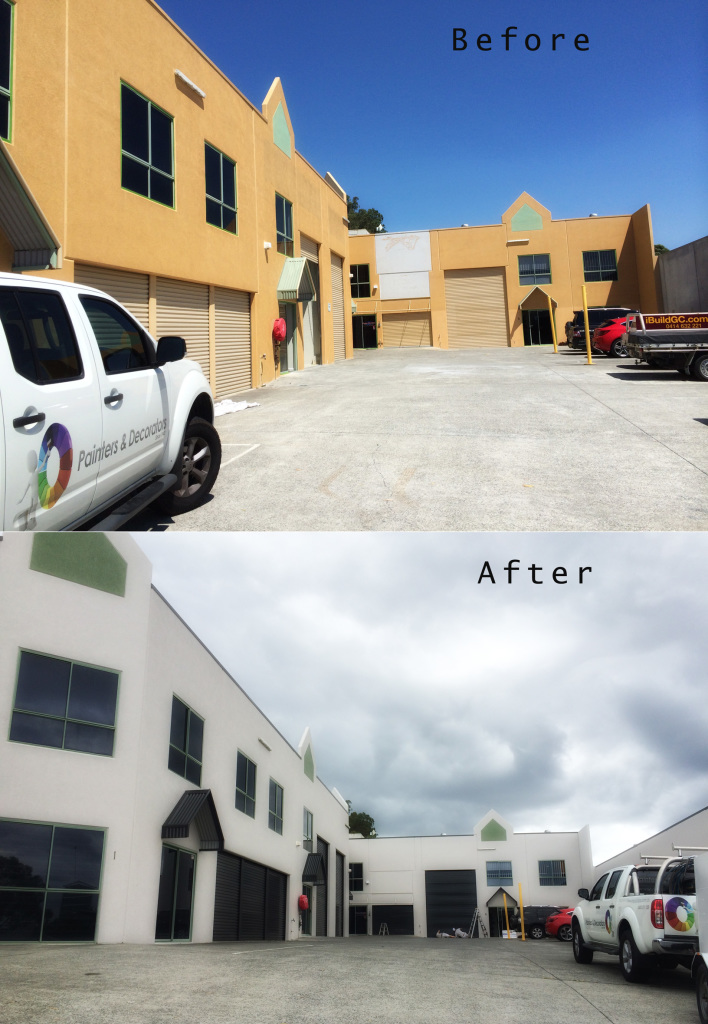 Before and after images of a factory repaint Gold Coast